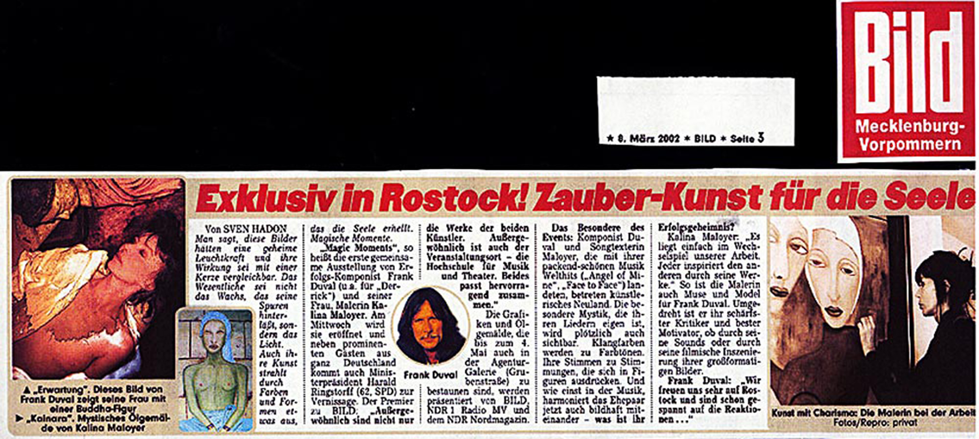 Magic Moments – Art Exhibition Rostock – Kalina Maloyer Frank Duval – Bildzeitung Artikel – Exklusiv in Rostock! Zauber-Kunst für die Seele