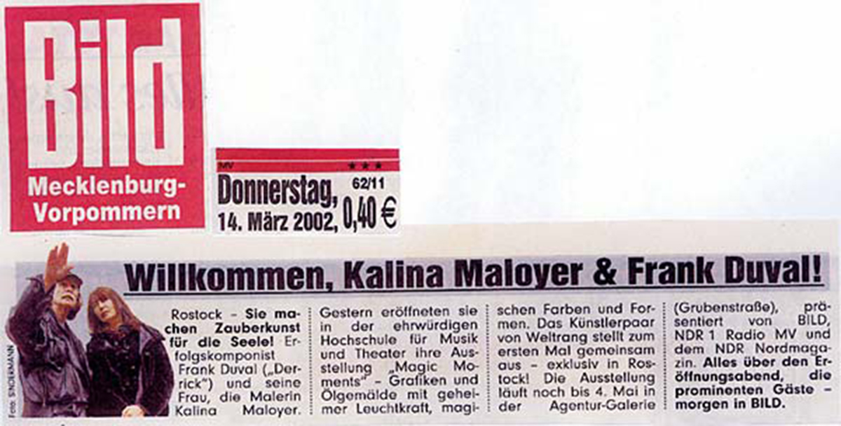 Magic Moments – Art Exhibition Rostock – Kalina Maloyer Frank Duval – Bildzeitung Artikel – Willkommen, Kalina & Frank