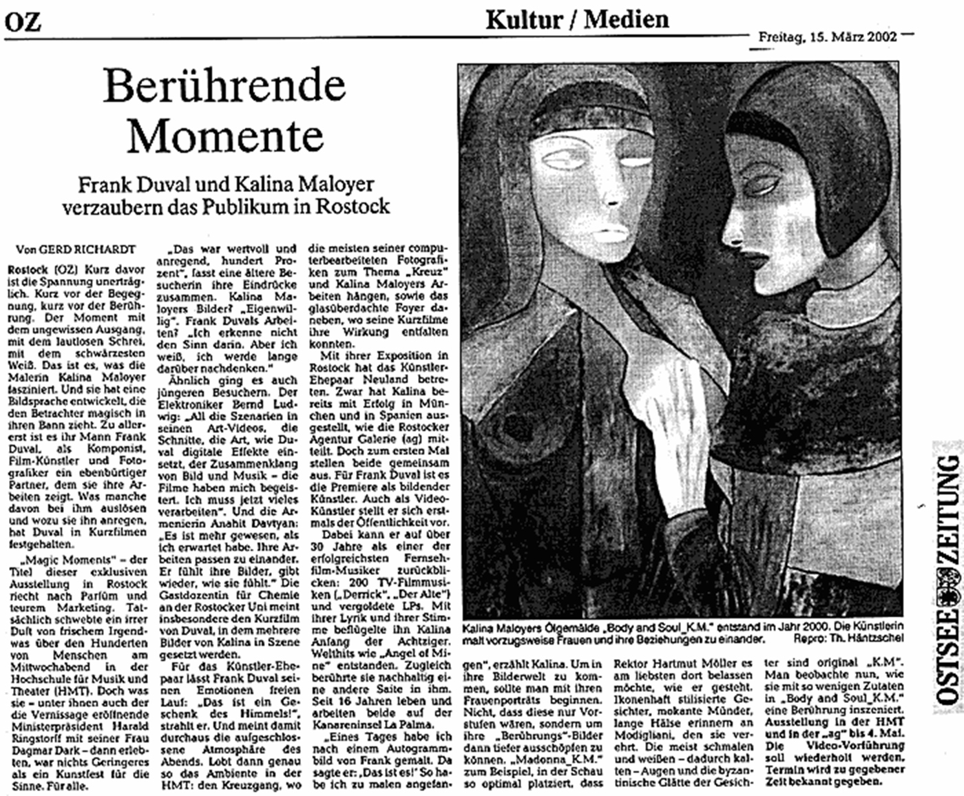 Magic Moments – Art Exhibition Rostock – Kalina Maloyer Frank Duval – Ostsee Zeitung – Berührende Momente